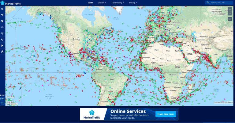 Trouver voilier sur Marine Traffic