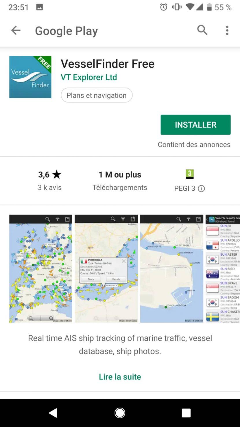 Application Vessel Finder gratuite
