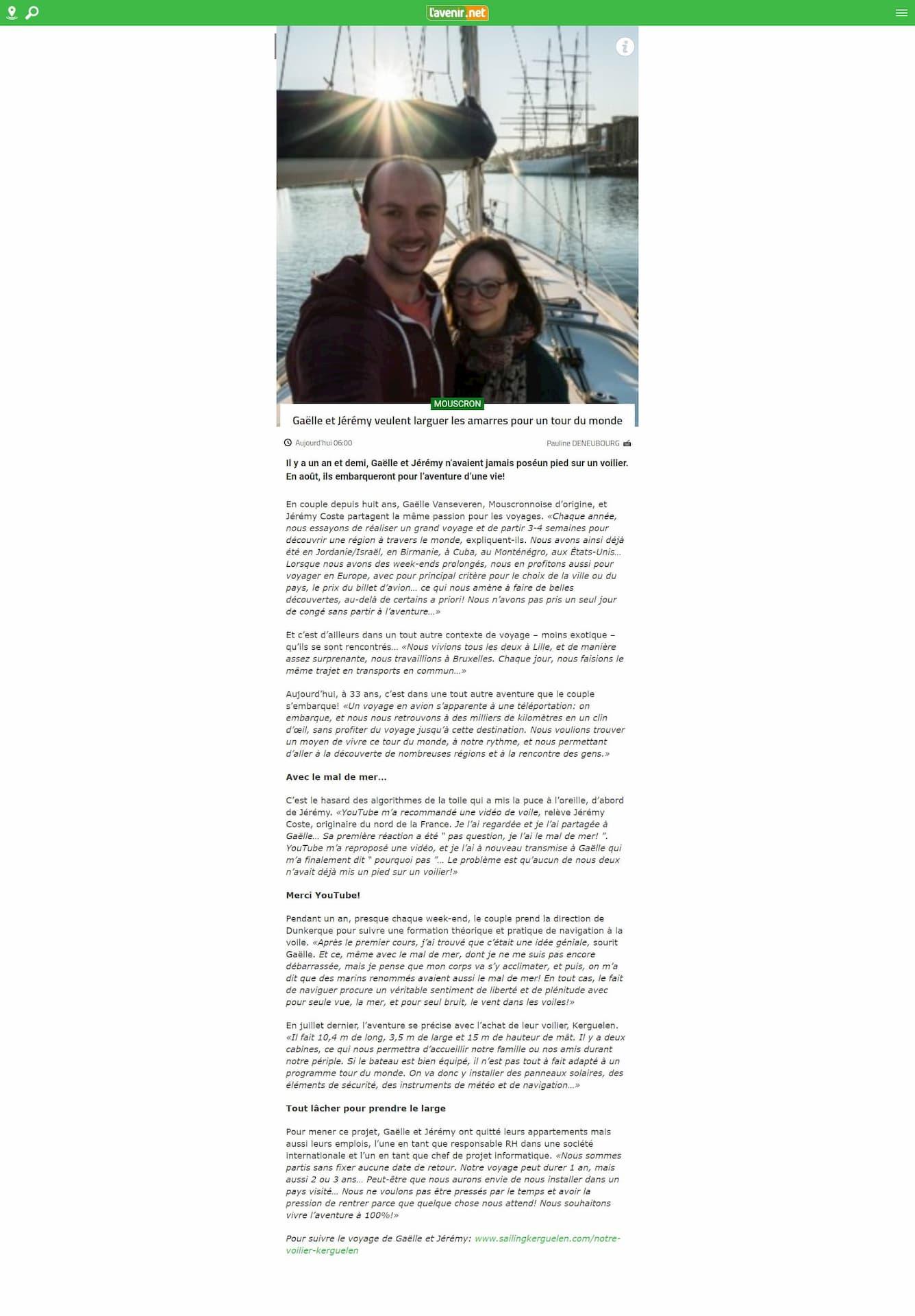 Article dans L'Avenir Le Courrier