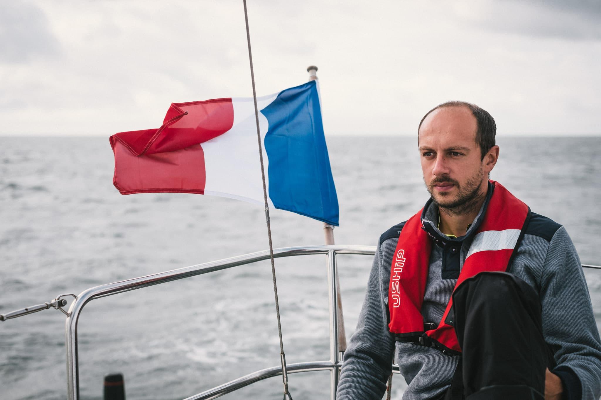 Jérémy, au milieu de la traversée de La Manche